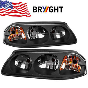 For 2000 2005 Chevy Impala Ss Ls Base Black Replacement Headlights Assembly Pair