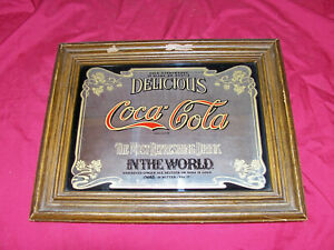 Vintage 12x15 IIC Coca-Cola Mirror Sign Coke Ad Advertising Old Soda Fountain