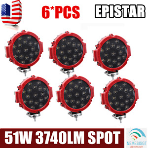 6x 7inch 51w Round Led Work Lights Spot Offroad Boat Car Suv Truck Lamp Red Slim