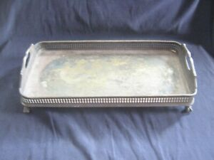 Lqqk Vintage Pierced Silverplate Table Top Four Footed Vanity Or Makeup Tray