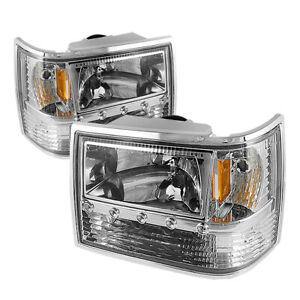 Fit Jeep 93 98 Grand Cherokee Chrome Replacement Led Headlights Bumper Corner