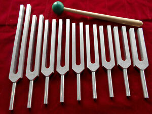 Lowest Price Sacred Solfeggio Tuning Fork Set Of 9 Velvet Pouch Mallet