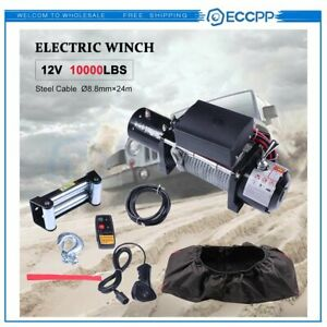 Eccpp 10000lb Electric Winch 12v Roller Fairlead 80 3 8 Steel Rope W cover