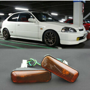 For Honda 96 00 Civic 97 01 Prelude Smoked Amber Dome Side Marker Lights Lamp