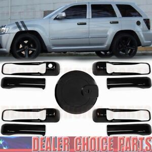 For 2005 06 07 08 09 2010 Jeep Grand Cherokee Gloss Black Door Handle Covers Gas