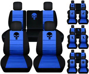 Front Rear Car Seat Covers Blk Med Blue W Frog Bear Claw Fits Jeep Liberty08 12