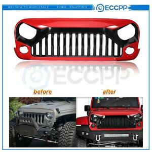 For Jeep Wrangler Rubicon Sahara Sport Jk 2007 2017 Red Front Angry Grill Grille