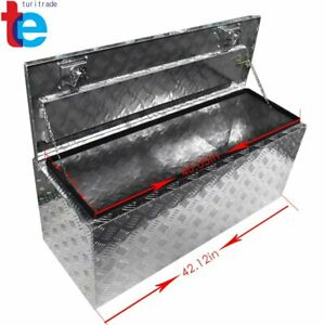 42 X18 X17 Chrome Aluminum Pickup Truck Trunk Bed Tool Box Trailer Storage Lock