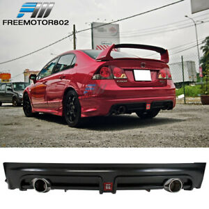 Fits 06 11 Honda Civic 4dr Mug Rr Style Rear Diffuser Twin Tip W Red 3rd Light
