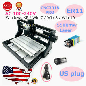 3 Axis Cnc Wood Carving Engraving Machine Er11 Mill Cnc Router Kits 5500mw Laser