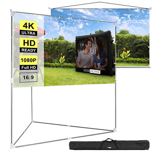 Vivohome 100 Full Hd Projector Screen Stand Hanging Indoor Outdoor Projection