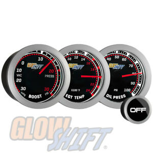 Glowshift 52mm 30psi Tinted Boost vac 2400f Egt 100psi Oil Pressure Gauge Set