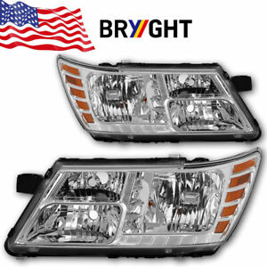 For 2009 2018 Dodge Journey Chrome Headlights Headlamps 09 18 Pair Left Right