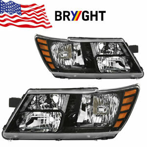 For 2009 2018 Dodge Journey Black Headlights Headlamps 09 18 Pair Left Right