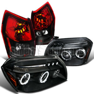 For 2005 2007 Dodge Magnum Led Halo Projector Headlights Black Tail Brake Lamps