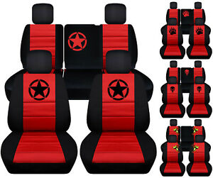 Front rear Car Seat Covers Blk red W deer frog bear Claw Fits Jeep Liberty 08 12