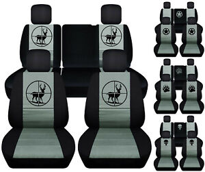 Front rear Car Seat Covers Blk steel Gray W deer frog Fits Jeep Liberty 08 12