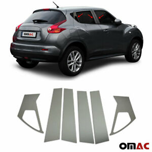 Fits Nissan Juke 2011 2017 Dark Chrome Window Plate B Pillar Trim S Steel 6 Pcs
