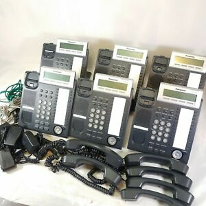 Lot Of 6 Panasonic Kx nt343 Business Office Phones Black W Handset Power Cable S
