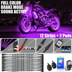 Phone Bluetooth Control Motorcycle Under Glow Accent Neon Light Kit Led 14pcs