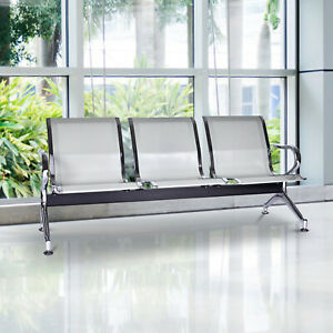 3 seat Waiting Chair Airport Bench Reception Room Chair Office Salon Silver