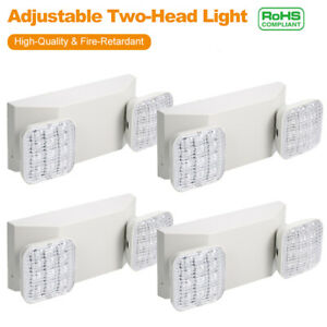4pcs Led Emergency Exit Light 2head Battery Back up Office Security Light R8w5