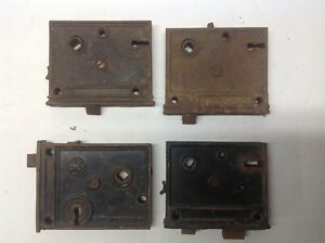 Lot Of 4 Vintage Door Latch Dead Bolt Slide Strike Cast Skeleton Key