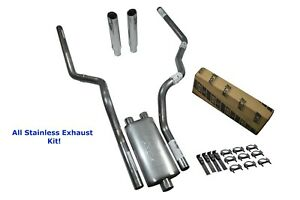 All stainless Dual Exhaust Kit Chevy Gmc 1500 99 06 Borla Pro Xs Rolled Tip