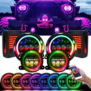 For Jeep Wrangler Jk Rgb Halo 7 Led Headlights Drl Fog Lamp Reverse Taillights