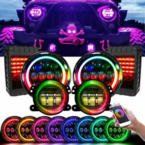 Rgb Halos For 2007 2018 Jeep Jk Jku Headlights fog Lamps signal Taillights Combo
