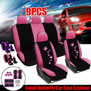 Universal Car Seat Covers Front And Rear Protectors Full Set Butterfly Printed