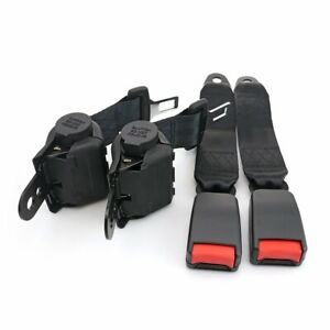 A Pair Fits Chevy 2 Point Seat Belt Strap Safety Belt Retractable Clip Black