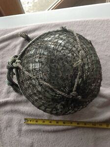 Vintage Japanese Glass Fishing Float 9 33 Circumference W Double Net
