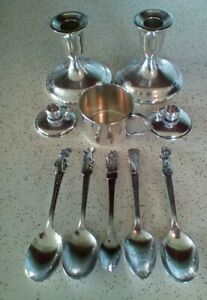 Vintage Silver Plate Oneida Ware 1939 Worlds Fair Cartoon Spoons Candle Holders