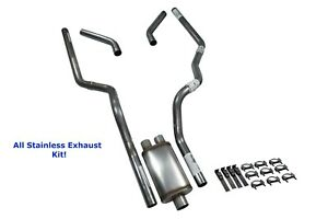 All Stainless Dual Exhaust Kit Dodge Ram 1500 94 03 Jones Full Boar Corner Exit