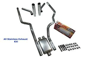 All Stainless Dual Exhaust Chevy Gmc 1500 07 14 Cherry Bomb Salute Corner R Tip