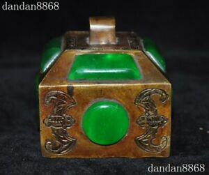 Chinese Old Dynasty Palace Bronze Inlay Green Jade Gem Emperor Seal Stamp Signet