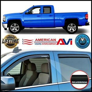 For 14 19 Silverado Double Cab Window Deflectors Vents Visors Shade In Channel