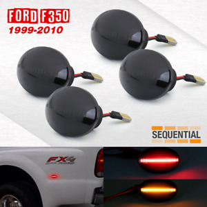 1999 2010 Ford F350 4pc Led Sidemarker Lights Sequential Smoked Lens Amber Red