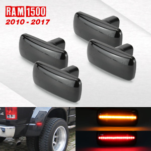 2010 2017 Ram 1500 4pc Led Sidemarker Lights Sequential Smoked Lens Amber Red