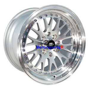 Mst Wheels Mt10 Rims 16 X 8 20 Silver Machine Lip 4x100 Stance Toyota Yaris Mrs