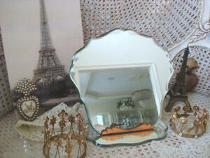Gorgeous Vintage French Beveled Fancy Cut Vanity Table Mirror With Stand Sale