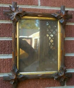 Antique Adirondack Black Forest Heavy Carved Wood Frame 6 5 X 8 5 In Fit C1880s