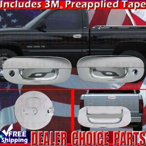 For 1994 2001 Dodge Ram 1500 2500 Chrome Door Handle Covers Gas Tailgate Cover