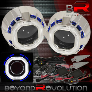 2 5 Inch Bi xenon Hid Projector Kit Headlights Retrofit Shroud Devil Angel Eyes