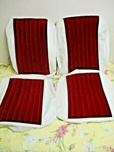 2 Custom Upholstered Bucket Seat Covers 60 s Gm White red Lowrider Impala Rod