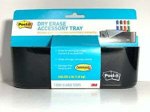 Post it Dry Erase Accessory Tray Black Plastic Deftray Damage Free Hanging