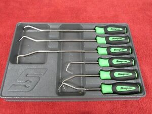 Snap On Sgrht6bg 6 Piece Green Instinct Grip Hose Pick Set In A Tray