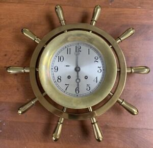 Chelsea Ship Bell 14 Ships Wheel Clock Brass 14