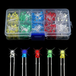 500pcs 3mm 5 Color Bright Led Light Emitting Diode Component Kit For Pcb Circuit